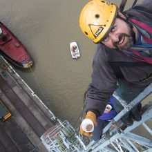 Training actors working at height on industrial canes