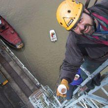 Filming on crane in Bristol docks