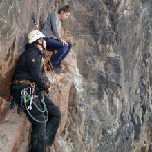 Providing safety assistance on the rock face