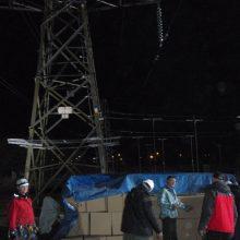 Electricity pylon with crash pad